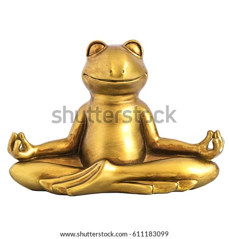Smiling gold yoga frog meditating in lotus pose. Body, mind and soul balance concept. Isolated on white Stock foto ©