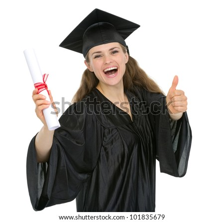Smiling graduation woman with diploma showing thumbs up