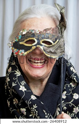 Smiling grandmother with mask