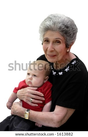Smiling great-grandmother with pouting grandchild.