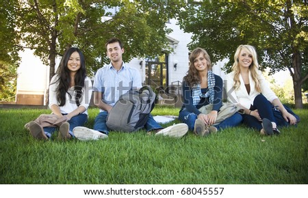 Smiling Group of Attractive Students