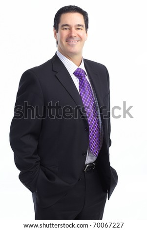 Smiling handsome businessman. Isolated over white background