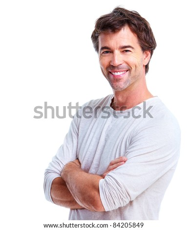 Smiling handsome man. Isolated over white background