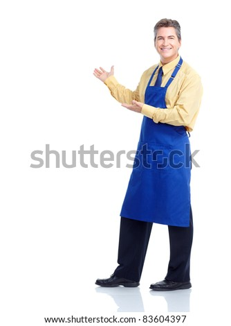 Smiling handsome waiter. Isolated over white background. - stock photo