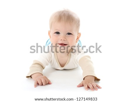 Smiling happy baby on white background, isolated, tummy time
