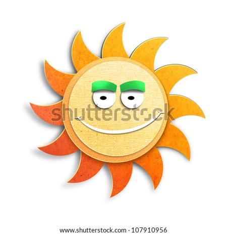 Smiling happy cartoon sun character. Paper cut illustration. Isolated on white background