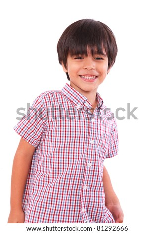 smiling happy child isolated over white background. boy