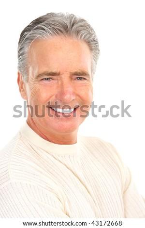 Smiling happy elderly man. Isolated over white background #43172668