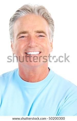 Smiling happy elderly man. Isolated over white background #50200300