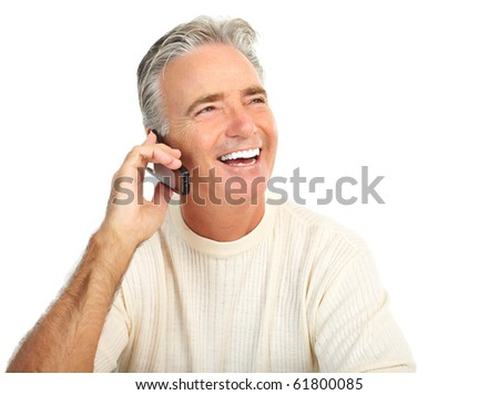 Smiling happy elderly senior man. Isolated over white background
