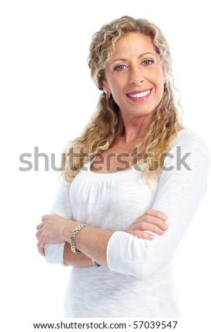 Smiling happy elderly woman. Isolated over white background