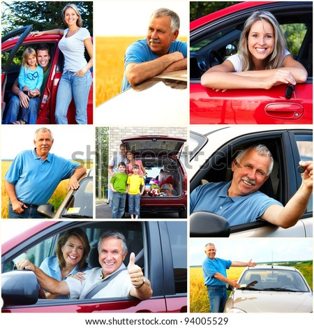 Smiling happy family and a family car. Collage. - stock photo