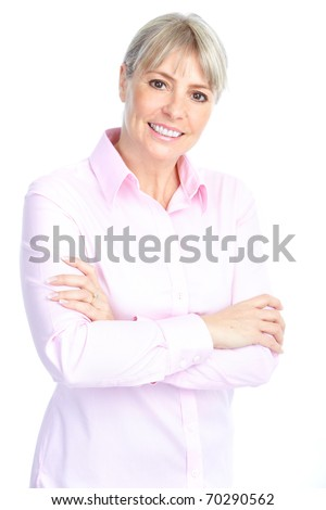Smiling happy mature woman. Isolated over white background