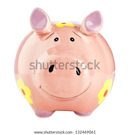 Smiling happy piggy bank isolated on white