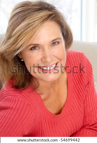 Smiling happy  woman at home
