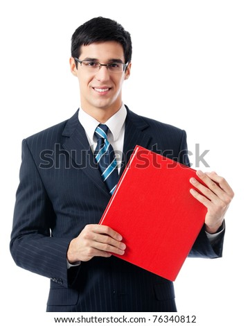 Smiling happy young business man with red folder, isolated on white background
