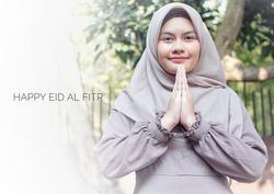 smiling hijab girl in greeting pose with several ramadan or eid al fitr caption, ramadan themed photo, ramadan greetings, eid al fitr greetings