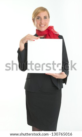 Smiling hostess holding a blank board ideal for inserting your own message
