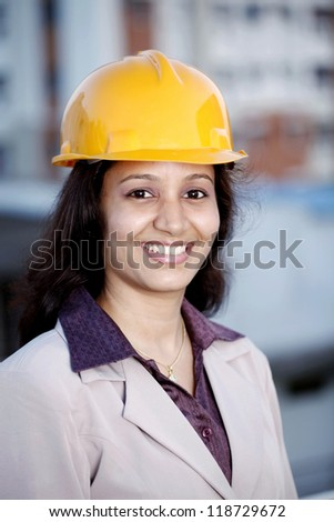 Smiling Indian female construction engineer