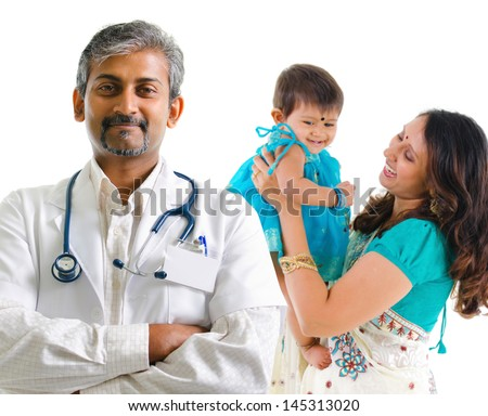 Smiling Indian medical doctor and patient family. Health care concept. Isolated on white background.