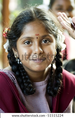 Smiling Indian Village School Girl Portrait