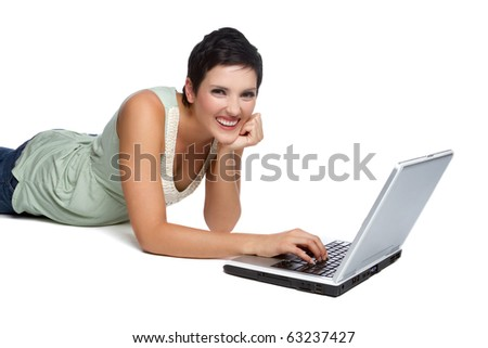 Smiling isolated laptop computer woman
