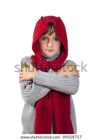 Smiling kid in red cap with Christmas lantern