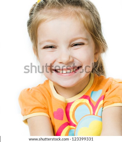 Smiling little girl a on white background