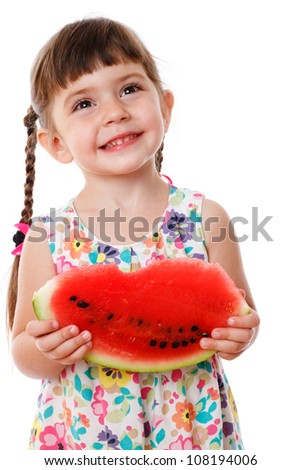 Kids with vegetables, fruits and other food