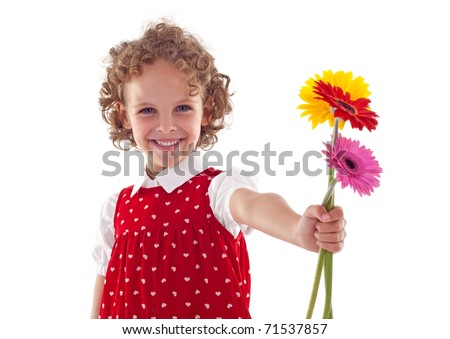 Smiling little girl giving flowers for mother's day, isolated