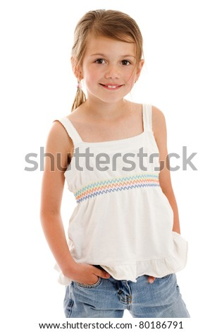 Smiling little girl happy portrait isolated on white
