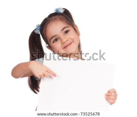 Smiling little girl holding empty white board