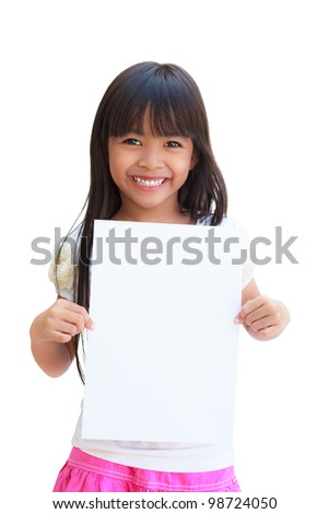 Smiling little girl holding empty white paper, Isolated on white