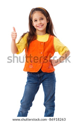 Smiling little girl with thumbs up sign, isolated on white