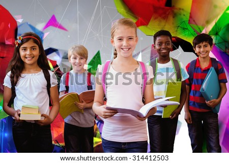 Smiling little school kids in school corridor against angular design