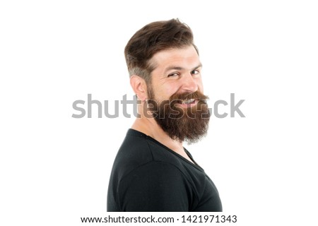 Smiling macho. Barber shop concept. Man bearded hipster with mustache. Beard mustache grooming guide. Hipster handsome bearded guy white background. Growing and maintaining moustache. Grow mustache.