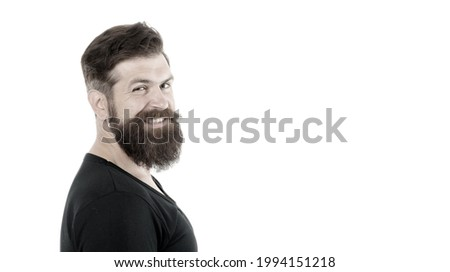 Smiling macho. Barber shop concept. Man bearded hipster with mustache. Beard mustache grooming guide. Hipster handsome bearded guy white background. Growing and maintaining moustache. Grow mustache Foto d'archivio ©