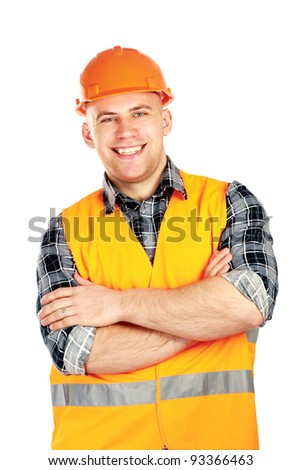 Smiling male construction worker in safety vest and hard hat isolated on white background. - stock photo