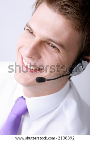 smiling male customer-service representative