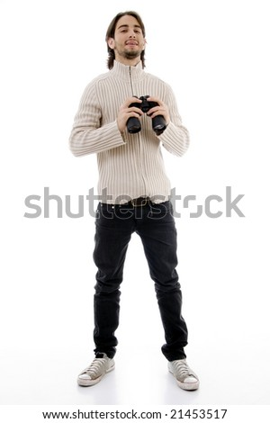 smiling male holding binocular on an isolated background