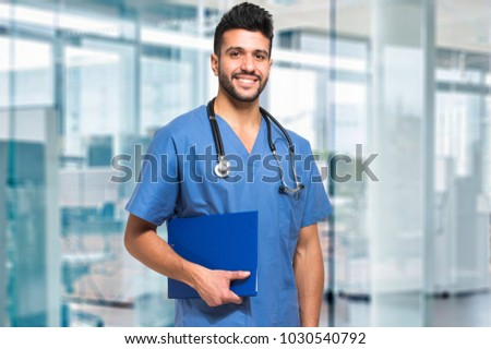 Smiling male nurse
