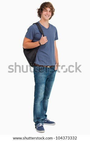 Smiling male student with a backpack against white background