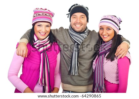 Smiling man embracing two women friends and laughing together isolated on white background
