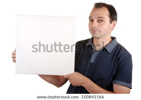 smiling man holds an empty board