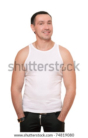 Smiling man in a white t-shirt. Isolated