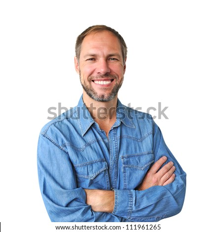 Smiling man in denim shirt isolated on the white background #111961265