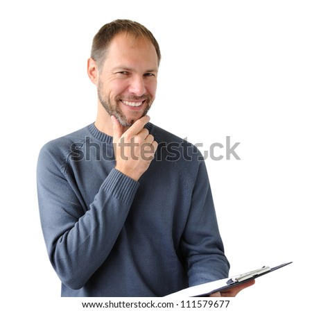 Smiling man in gray with a tablet isolated on white
