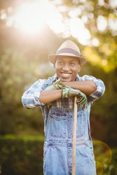 Smiling man in the garden looking away