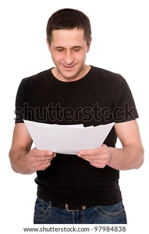 smiling man reading documents isolated on white background