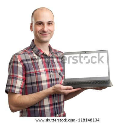 smiling man with laptop computer on a white background